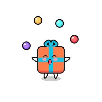 The gift box circus cartoon juggling a ball , cute style design for t shirt, sticker, logo element