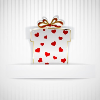 Gift box cut out of white paper with red hearts on white striped background