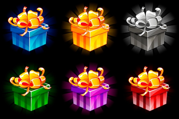 Gift box in different colors. cartoon isometric gifts  bonus icons for ui game resources.