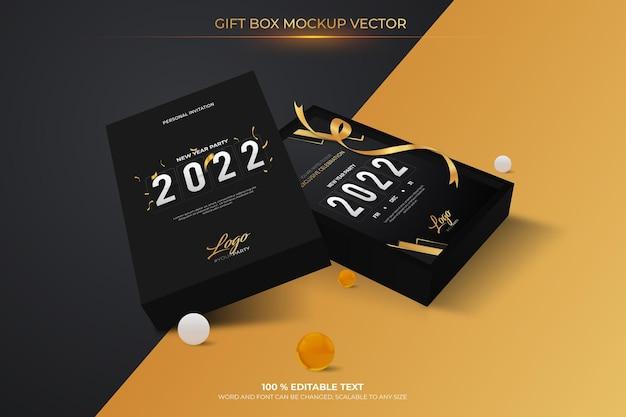 Gift box editable mockup vector with black color