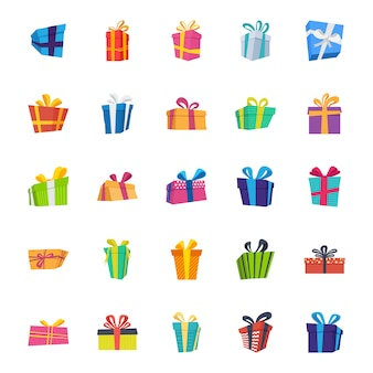 Gift box flat vector icons pack