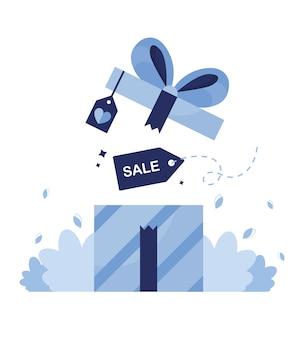 Подарочная коробка для покупателей магазина. распродажа, скидки и предложения на день рождения, рождество, праздники и мероприятия. черная пятница, кибер понедельник. синий