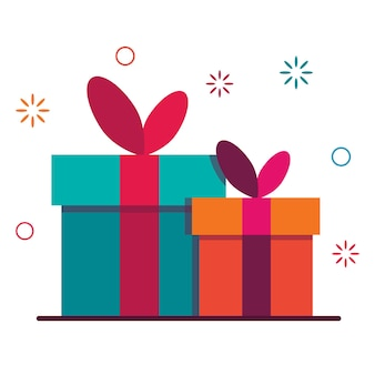 Подарочная коробка к празднику. символ программы лояльности и вознаграждения. вознаграждение по реферальной программе.