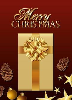 Gift box of golden color with merry christmas lettering  illustration
