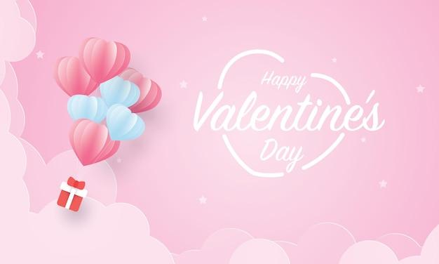 Подарочная коробка, висящая на воздушном шаре, парящем в небе, с днем святого валентина