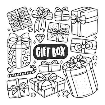 Gift box icons hand drawn doodle coloring