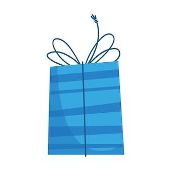 漫画の子供たちのフラットスタイルで新年のクリスマスや誕生日のための青いパッケージのギフトボックス