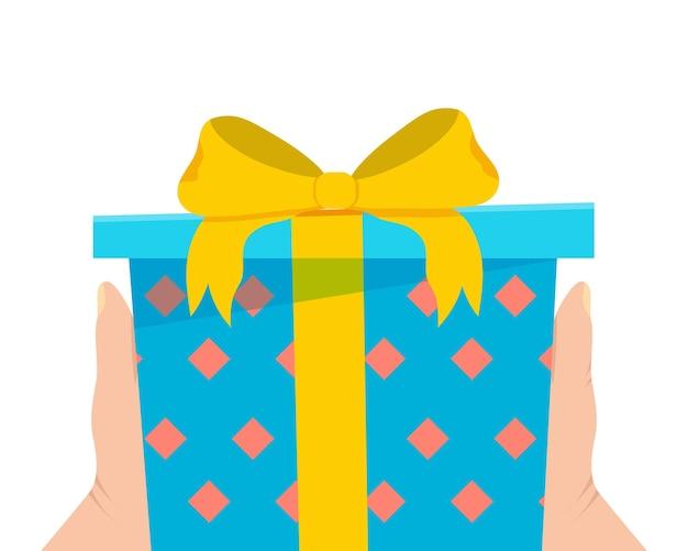 Подарочная коробка в руке. плоские векторные иллюстрации
