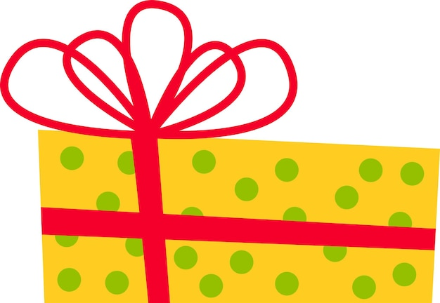 The gift box is yellow with a red bow for all holidays