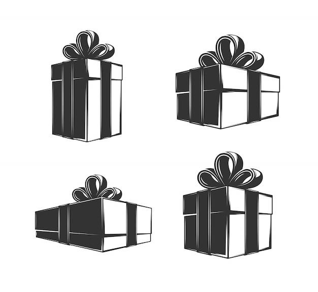 Подарочная коробка изолированных иллюстрация в рисованной