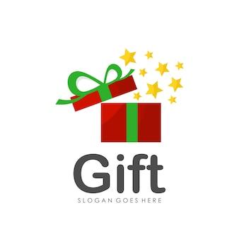 Gift box logo design template