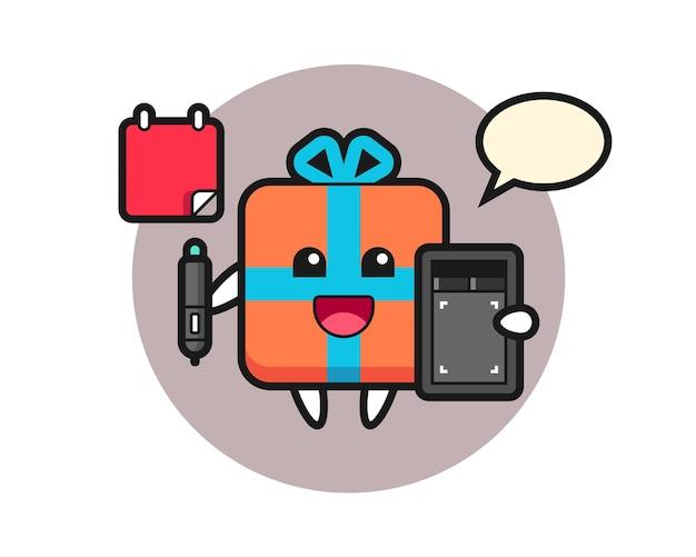 Gift box mascot as a graphic designer
