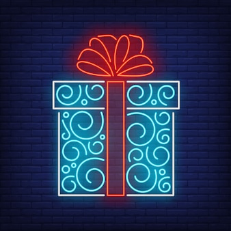 Gift box in neon style