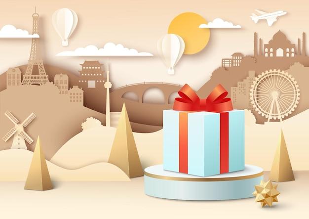 Подарочная коробка на подиуме, вырезанный из бумаги самолет, летящий над всемирно известными достопримечательностями, бонус за лояльность ...