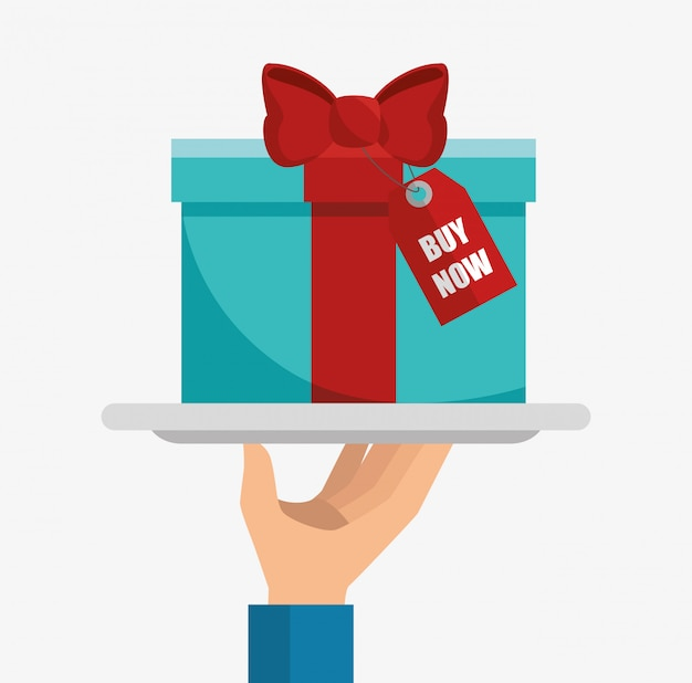 Gift box present isolated illustration
