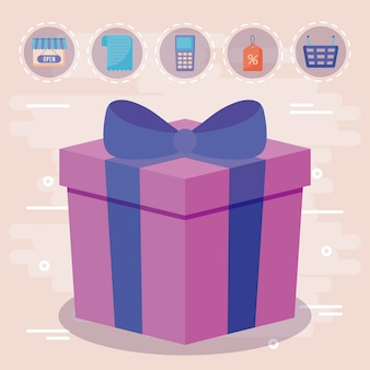 Gift box present with commercial icons