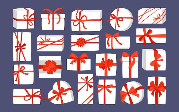 Подарочная коробка с красной лентой рождество или день рождения