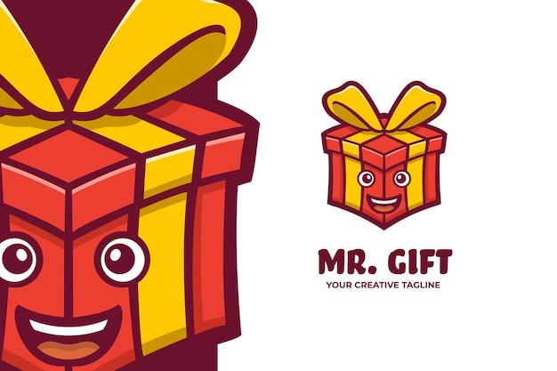 ギフトボックスリボンマスコットキャラクターロゴ