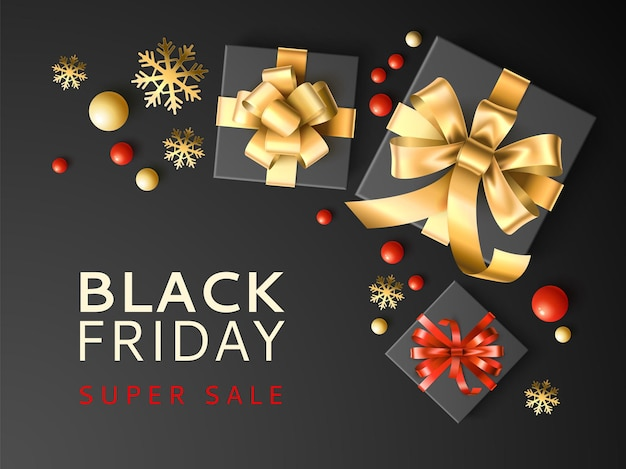Gift box sale. black friday discount banner with presents in dark packaging and golden snowflakes, top view, gift coupon or shopping card and vector poster