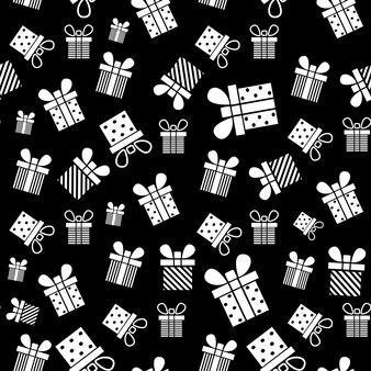 クリスマスの新年の休日のためのギフトボックスシームレスパターンプレゼントパターンベクトルイラストデザイン
