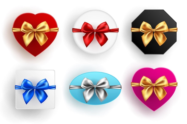 Gift box set. collection of different present boxes isolated on white background. various colored shapes with bow, top view