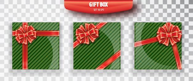 ギフト用の箱。透明な背景に分離された緑のクリスマスギフトボックスのセット。