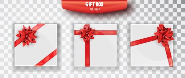 ギフト用の箱。透明な背景に分離された白いクリスマスギフトボックスのセット。