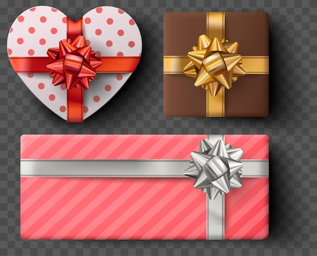 Gift box set with golden bow, ribbons isolated on gray transparent background. realistic vector heart shape giftbox. colorful wrapped gift boxes presents. valentine decoration collection