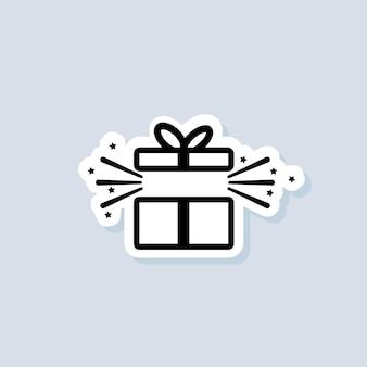 선물 상자 스티커입니다. 파티 및 축하 개념입니다. 선물 상자 아이콘입니다. 서프라이즈와 생일 아이템, 선물, 선물, 리본. 격리 된 배경에 벡터입니다. eps 10.