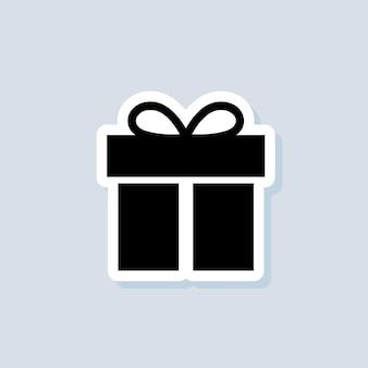 Наклейка на подарочную коробку. настоящий день рождения, новогодний праздник. концепция вечеринки и торжества. вектор на изолированном фоне. eps 10.