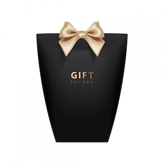 Gift box template.  realistic black package  with gold bow