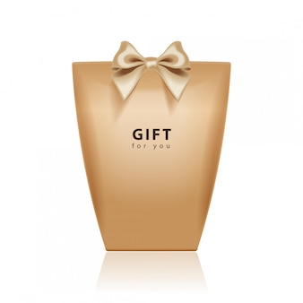 Gift box template.  realistic brown package  with gold bow