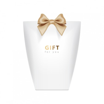 Gift box template.  realistic white package  with gold bow