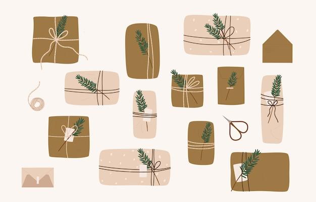 Подарочная коробка вектор настоящие пакеты рождество