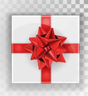 ギフト用の箱。透明な背景に分離された白いクリスマスギフトボックス。