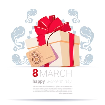 Gift box with 8 march tag happy women day creative greeting card template background