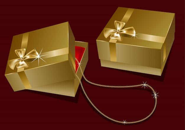 Подарочная коробка с цепочкой