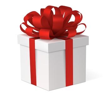 붉은 활과 선물 상자 프리미엄 벡터