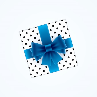 Gift box with blue bow