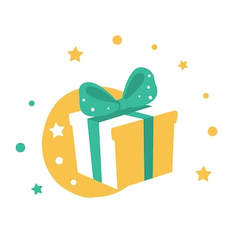 Gift box with a bow. holiday present wrapped paper. vector line art isolated on white background.