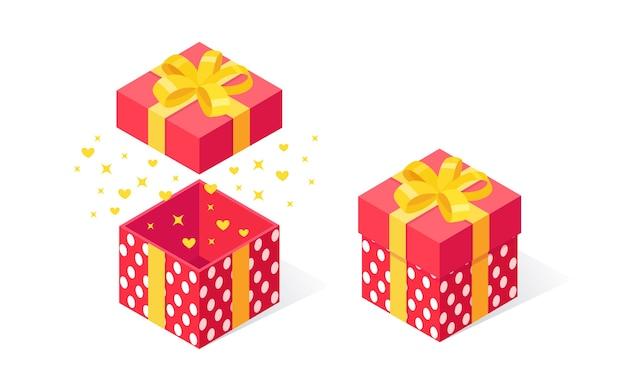 Подарочная коробка с бантом, лентой на белом фоне