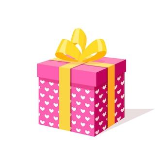 弓、白い背景の上のリボンとギフトボックス。等尺性の赤いパッケージ、紙吹雪で驚き。販売、ショッピング。休日、クリスマス、誕生日。