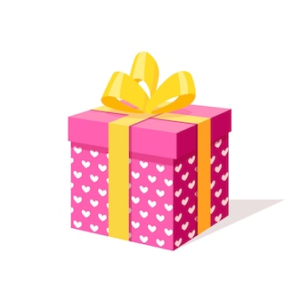 Gift box with bow, ribbon  on white background.  isometric red package, surprise with confetti. sale, shopping. holiday, christmas, birthday .