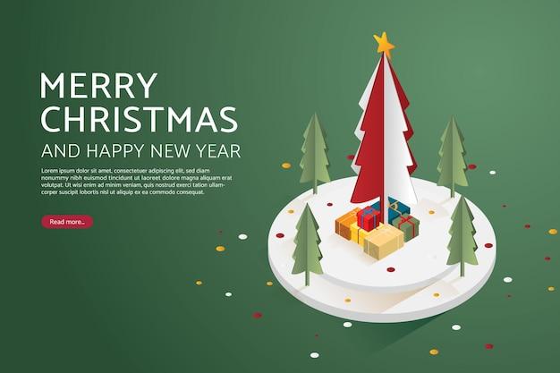 クリスマスツリーのギフトボックスメリークリスマスとウェブバナーの新年あけましておめでとうございます