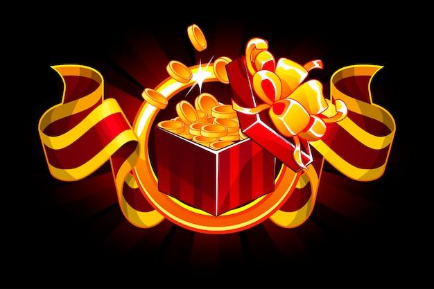 Подарочная коробка с монетой и наградной лентой. мультфильм изометрические подарки бонус иконки для пользовательского интерфейса игровых ресурсов.