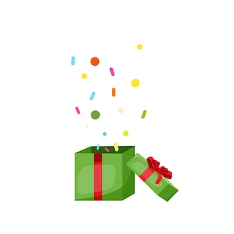 A gift box with confetti the concept of christmas vector cartoon illustration
