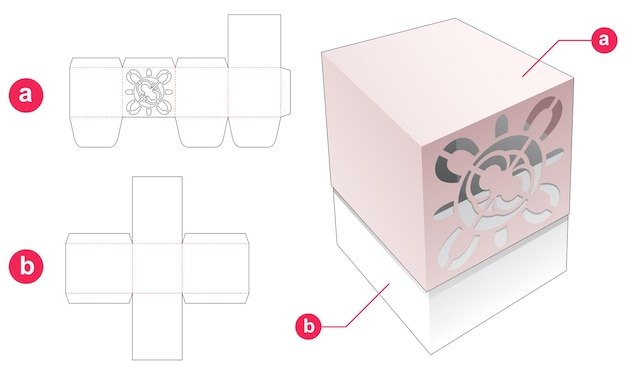 Gift box with cover which has mandala stencil die cut template