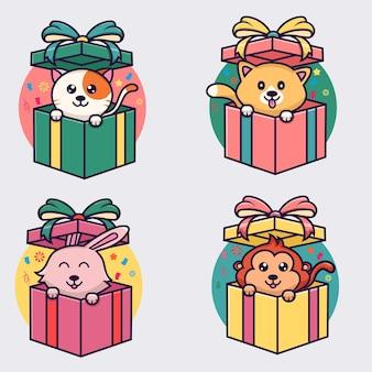 귀여운 동물 일러스트와 함께 선물 상자