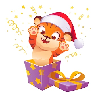 Gift box with cute tiger in christmas hat leap out