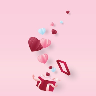 Valentine S Day Pink Paper Hearts Cute Love Sale Banner Or
